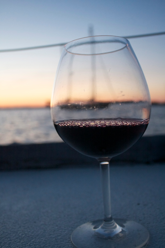Red wine at night, sailor's delight: A class of vino tilts ever so slightly to port as the sun sets behind Newport Harbor. If there is a better way to end a day, I haven't discovered it yet.